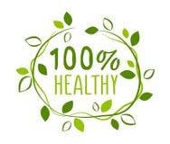 Etiqueta 100% saudável ilustração stock