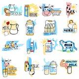 Etiqueta saudável fresca da etiqueta da etiqueta do leite para a propaganda ilustração do vetor