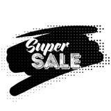 Etiqueta super do preto da venda com teste padrão de intervalo mínimo Fotos de Stock Royalty Free