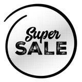 Etiqueta super do preto da venda com teste padrão de intervalo mínimo Fotos de Stock