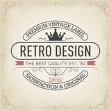 Etiqueta superior del vintage, diseño del logotipo de la tipografía en estilo retro ilustración del vector