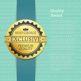 Etiqueta superior exclusiva da melhor escolha da concessão da qualidade ilustração royalty free