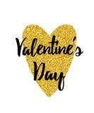 Etiqueta tipográfica de la tarjeta del día de San Valentín con el corazón del brillo del oro Día del `s de la tarjeta del día de  Fotos de archivo