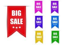 Etiqueta a venda grande cor diferente Fotografia de Stock Royalty Free