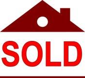 Etiqueta vendida como pequeña casa stock de ilustración