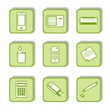 Etiqueta verde com ícone 9 Fotos de Stock