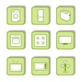 Etiqueta verde com ícone 9 Imagens de Stock Royalty Free