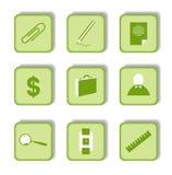 Etiqueta verde com ícone 9 Imagem de Stock