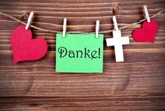 Etiqueta verde con Danke Imágenes de archivo libres de regalías