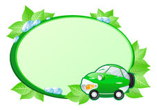 Etiqueta verde con el coche de la historieta. Foto de archivo