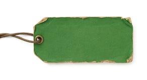 Etiqueta verde de Grunge con la cuerda de rosca marrón Fotografía de archivo