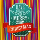 Etiqueta verde estilizada vintage de la Feliz Navidad, con Imágenes de archivo libres de regalías