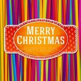 Etiqueta verde estilizada vintage de la Feliz Navidad, con Imagen de archivo libre de regalías