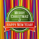 Etiqueta verde estilizada vintage de la Feliz Navidad, con Fotografía de archivo