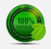 etiqueta verde natural del 100% aislada en white.vector stock de ilustración