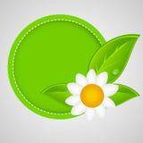 etiqueta verde natural del 100% aislada en white.vector Fotos de archivo