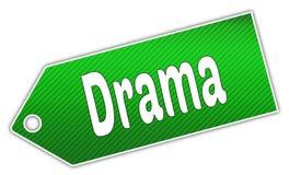Etiqueta verde rayada del DRAMA ilustración del vector