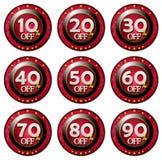 Etiqueta vermelha com os discontos ajustados Imagens de Stock Royalty Free