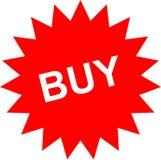 Etiqueta vermelha com texto da compra Ilustração Stock