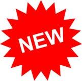 Etiqueta vermelha com texto novo Ilustração Stock