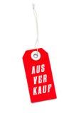 Etiqueta vermelha da etiqueta das vendas com mensagem alemão Fotos de Stock Royalty Free