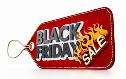 Etiqueta vermelha da venda de Black Friday isolada no fundo branco ilustração 3D Fotos de Stock