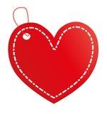 Etiqueta vermelha do coração imagens de stock