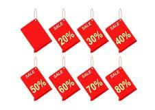 Etiqueta vermelha do disconto no fundo branco Imagem de Stock Royalty Free