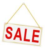 Etiqueta vermelha do sinal com a venda da inscrição que pendura em um vecto da corda Fotografia de Stock
