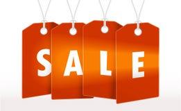 Etiqueta vermelha, etiqueta com projeto da venda Tamplate da ilustração do vetor Imagem de Stock