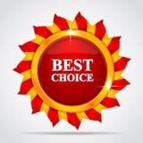 Etiqueta vermelha no formulário do sol Imagens de Stock Royalty Free