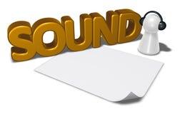 Etiqueta y empeño de los sonidos con los auriculares Fotografía de archivo libre de regalías