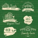 Etiqueta y logotipos del alimento biológico fijados Etiqueta y logotipo frescos de la granja ilustración del vector