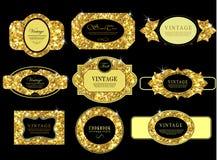 Etiqueta y marco del oro Imagen de archivo libre de regalías