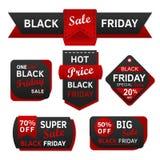Etiqueta y etiqueta negras de la venta de viernes imagenes de archivo