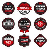 Etiqueta y etiqueta negras de la venta de viernes fotos de archivo