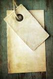 Etiqueta y papel en blanco viejos Imagen de archivo libre de regalías