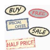 Etiquetado desde la venta de mercancías Fotografía de archivo libre de regalías
