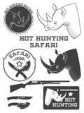 Etiquetas africanas del safari del cazador Imagenes de archivo