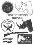 Etiquetas africanas do safari do caçador Imagens de Stock