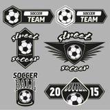 Etiquetas ajustadas dos campeões do futebol do vetor ilustração stock