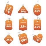 Etiquetas anaranjadas - descuento stock de ilustración