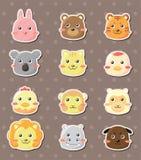 Etiquetas animais da face ilustração royalty free