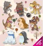 Etiquetas animais do ícone dos desenhos animados Fotos de Stock Royalty Free