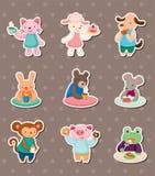 Etiquetas animais do tempo do chá Fotografia de Stock