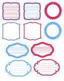 Etiquetas azuis e vermelhas do jornal Imagem de Stock Royalty Free