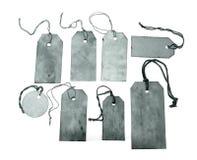 Etiquetas azules con las cadenas Imagen de archivo libre de regalías
