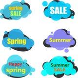 Etiquetas azules de la nube de la venta aisladas en blanco libre illustration