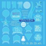 Etiquetas azules del cuero del mar del elemento en concepto determinado del invierno Foto de archivo libre de regalías