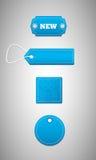 Etiquetas azules, precios stock de ilustración
